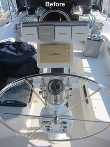 1998 Catalina 380 Sailboat Helm Electronics - Before