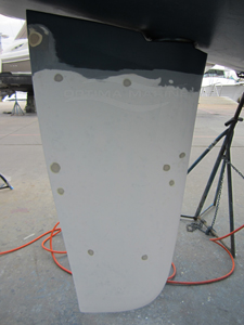 Sailboat Rudder with Blister Repair