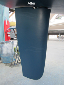 Sailboat Rudder After Repairs, Epoxy Barrier Coat and Bottom Paint