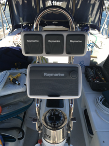 1998 catalina 380 Sailboat Helm with NavPod Raymarine Electronics - After