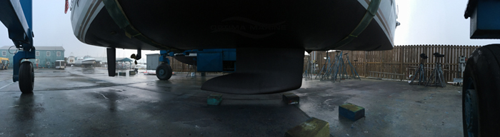 Panoramic of Completed Bottom Job on 2015 Jeanneau 469 at Seabrook Shipyard