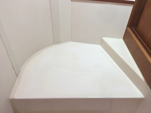 Marine Toilet Base After Fiberglass and Gelcoat Modifications